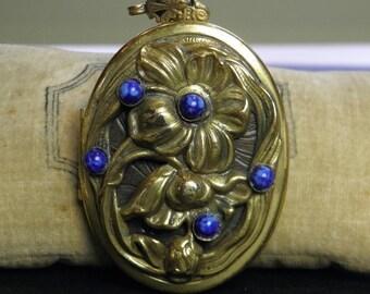 Lg Vintage Brass Locket Patina Large 1940s