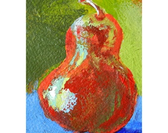 ACEO Red Pear Mini Painting, Kitchen Wall Decor, Fruit Art, Pear Art, Abstract Modern Art, Original Food Art, Pear Series, Red Pear Wall Art