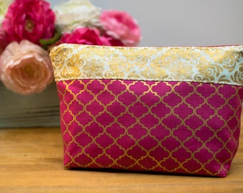 Zipper Pouch, Cosmetic Bag, Accessories Bag, Travel Pouch, Clutch - Hot Pink with Palm Tree Lining