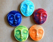 5 Ceramic Mosaic tiles - Goddess Cabochones - Handmade Ceramic Meditation Face tiles