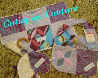Cutiepies Couture Purple denim set with bib, burpie, and all natural teething ring lovie set