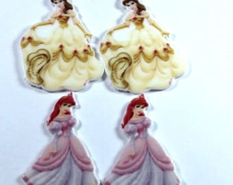 Set of 4 Belle Aurora Sleeping Beauty Beauty and the Beast resin hair bow craft center planar resin