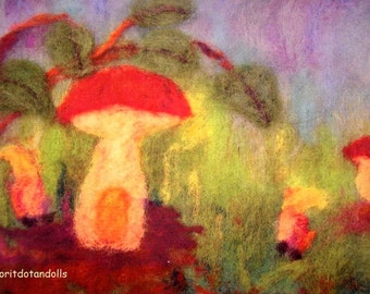 Mushroom, the gnome's home-blessing card-prints of my original needle felted wool painting picture-waldorf arts