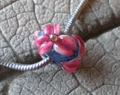 Hot Pink Floral on Blue Base BHB Lampwork Beads by Cherie SRA R114 Big Hole Bead Raised Flower Pink Flower BHB Big Hole Bead Bracelet Bead