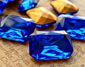 Christmas in July Sale - 18x13mm Sapphire Octagon Vintage Glass Rhinestone Jewels (12-10B-2)