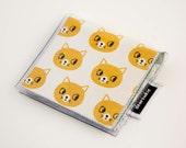Handmade Vinyl Moo Square Card Holder - Curious / case, vinyl, snap, wallet, paper, mini card case, moo case, retro, cat, animal lover