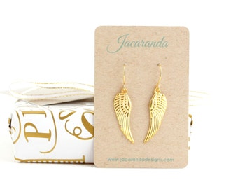 Angel Wing Earrings -  - Stocking Stuffer Gift - Gold Wing Earrings - Cupid Wings - Dangle Earrings - Etched Wings - Gift For Woman
