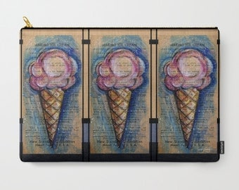 "Ice Cream Cone Art, Pouch, Vintage Typography Art Purse, Bag, Abstract Painting art ""Ice Cream"" by Kathy Morton Stanion  EBSQ"
