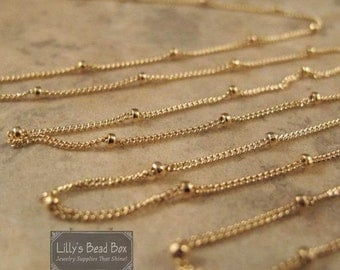 Labor Day SALE - Gold Satellite Chain, 14/20 Gold Filled Satellite Chain, By The Foot, Jewelry Supplies, Everyday Necklace (11082f)
