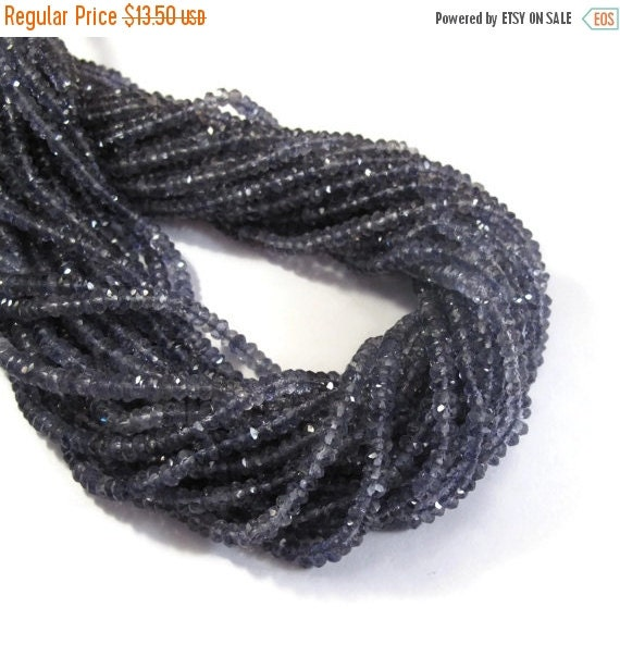May SALE NEW Iolite Faceted Rondelle Beads, 3-3.5mm Faceted Iolite Gemstones, 13 Inch Strand, Necklace Rondelles, Jewelry Supplies (R-Io3)