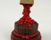 12thscale Miniature Strawberry and Chocolate Anti Gravity Cake
