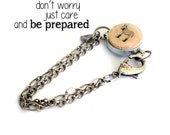 Be Prepared Bracelet - Donkey Jewelry - Wine Cork Jewelry - Steel Bracelet - Recycled - Donkey - Rainboots - Green Wellies - Uncorked
