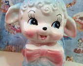 VERY RARE Vintage Antique Baby Blue Lamb Planter With A Pink Bow Retro Collectible