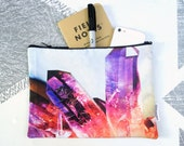 Magenta Mineral Zipper Pouch- Jewelry Bag- Makeup Bag