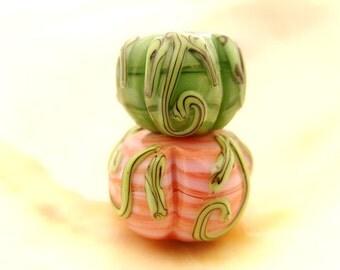 2 Pumpkin Beads Handmade Lampwork