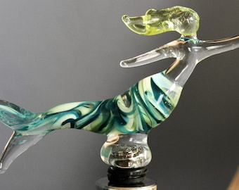 Teal and Lime Green Mermaid Wine Stopper