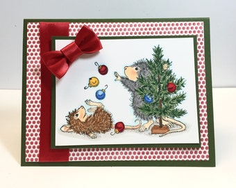 Hand Stamped Christmas Card - Handstamped House Mouse Card - House Mouse Juggling Ornaments  Card