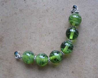 Lampwork Beads - SueBeads - Round Beads - Wispy Olive Round Bead Set - Handmade Lampwork Beads - SRA M67