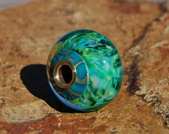 Tropical Lush - Capped & Cored Dan O Lampwork Bead for european style add a bead chains