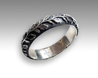 unisex wedding band nature ring mens womens ring vine ring botanical band