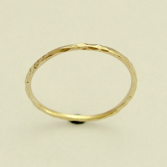 Solid Gold Ring, White Gold Ring, Rose Gold Ring, Wedding Band, Thin Wedding Ring, Hammered Gold Ring, Delicate midi Ring - Smile RG1595