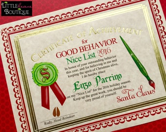 Santa's Nice List Certificate, Santa Certificate,Gold Foil Santa Letter, Santa Claus Nice List, Stocking Stuffer,Santa Letter,Children,Kids