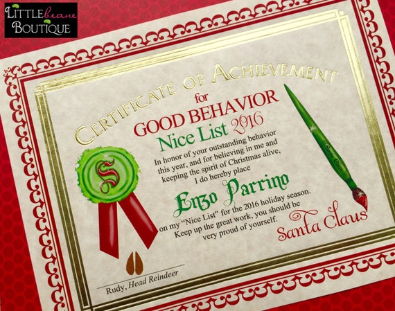 Santas nice list certificate santa certificategold foil santa il570xn spiritdancerdesigns Choice Image