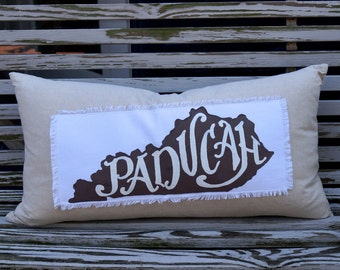 Kentucky State pillow - down fill - lumbar - Paducah - Murray - city - maker - custom quote