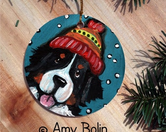 "Bernese Mountain Dog ""Snowy Weather"" double sided ceramic Christmas ornament by Amy Bolin"