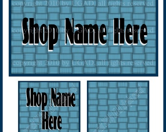 Three Piece Cover Banner, Shop Icon and Blank Icon, Blue Basket Weave