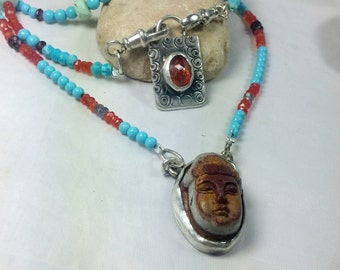 Buddha Gemstone Multistrand Necklace, Gemstone Beaded Necklace, Statement Necklace, Yoga Jewelry