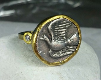 Gold Coin Ring, Statement Ring, Ancient Coin Jewelry, solid yellow gold ring,  Dove coin ring