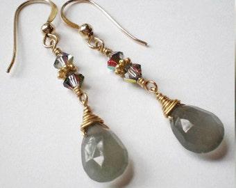 Gray Moonstone teardrop Swarovski Crystal Gold filled dangle earrings
