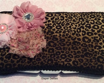 Leopard Baby Boutique Travel Wipe Case Bling Rhinestone Flower Mixed Media Pink Shower Gift