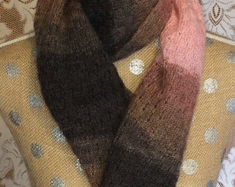 Pink and Brown Tones Handknitted Wool Blend Scarf