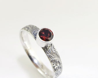 Garnet ring, Sterling Silver, red gemstone, stacking ring, Birthstone jewelry