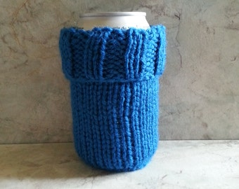 2 in 1 Soda Pop Can Beer Water Bottle Cozy - Handknit - Sapphire Blue