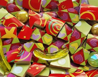 Mosaic Tiles--Suzeez Fab Mix- Hearts-Glass Gems -Custom Mix-82 Pieces-Includes glass gems-Perfect for your special mosaic projects
