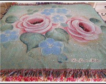 Photo Art Woven Designer Throw Created from Hand Painted Roses, with Fringe, Home Decor, Display, Sofa Throw, ECS