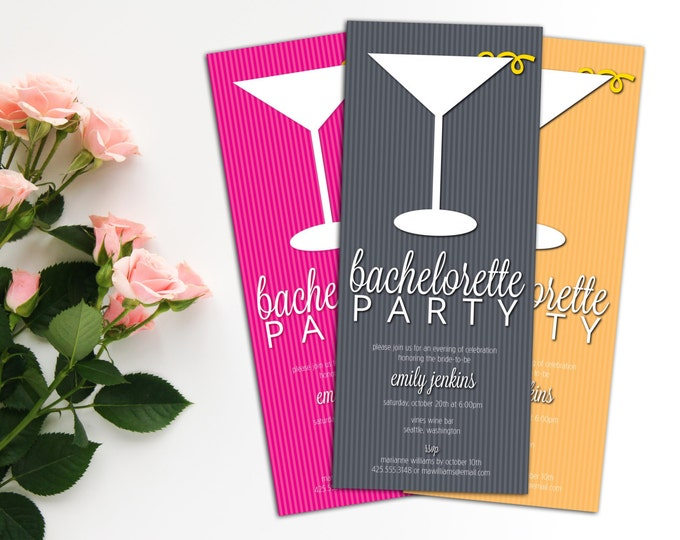 Cocktail Bachelorette Invitation with Envelopes, Couples Cocktail Invitations