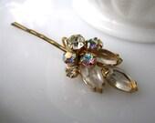 Magique Hairpin - Vintage 1960's Aurora Borealis iridescent rhinestone flower on bronze hairpin - Free Shipping to USA