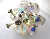 Sparkleature Ring - 1950's vintage iridescent Aurora Borealis glass cluster on adjustable ring - Free Shipping to USA