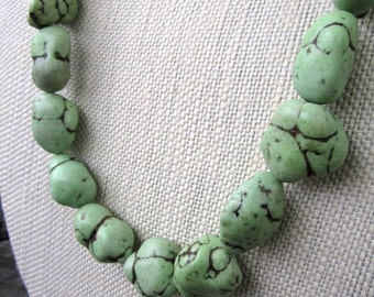 Campion Necklace - chunky green howlite nugget beads and large link gold metal chain necklace - Free Shipping to USA