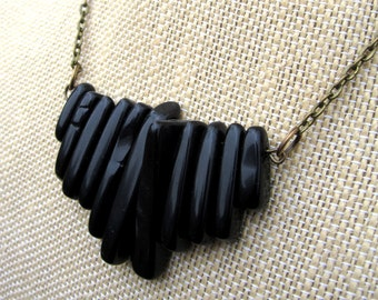 Panther Necklace - gradiated onyx stone bar pendant on bronze necklace - Free Shipping to USA