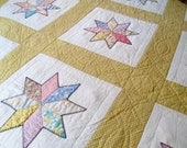 Antique Quilt -  8 Point Star Calico - Hand quilted