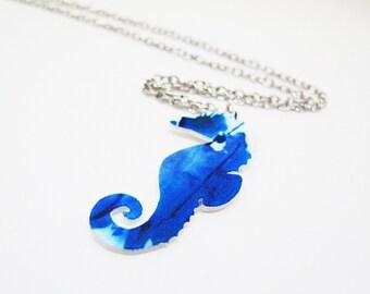 Watercolor Seahorse Necklace