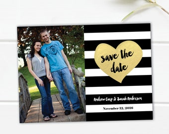 Save the date in black and gold, black and gold save the date post card, gold foil look