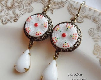 Vintage Glass Button Earrings- Isabel