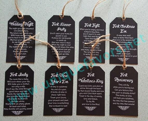 Wedding Gift Poems: 12 Tags Wedding Gift Bridal Shower Poem Wine Tags
