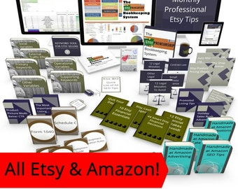 All Etsy and Handmade at Amazon Tips, Resources, Videos, Guides - THE SUPER BUNDLE, Etsy Tips, Etsy Seo, Etsy Bookkeeping, Etsy Tax, Keyword